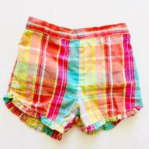Other - Plaid High-Waisted Ruffle Trim Shorts